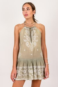 Juliet Dunn London Khaki Cotton Cami Dress with Embroidery / Size: One size - Fit: S