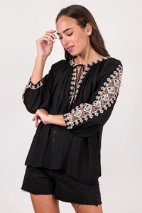 Melissa Odabash Black Ethnic Blouse with Knitted Details / Size: One size - Fit: S