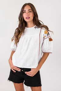 Anne White Ethnic Blouse with Knitted Details / Size: ? - Fit: S