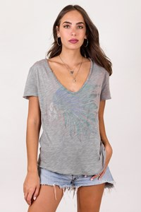 Zadig & Voltaire Grey Cotton T-Shirt with Print / Size: L - Fit: M