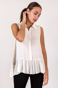 DVF Ecru Lanzi Sleeveless Silk Shirt / Size: S - Fit: S / M