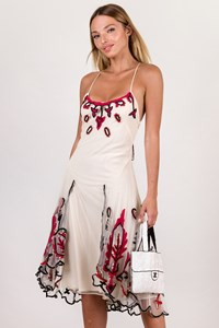 Temperley Ivory Tulle Dress with Black and Red Embroidery / Size: 8 UK - Fit: S / M