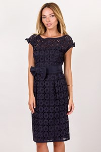 Nanette Lepore Navy Broderie Anglaise Dress / Size: 2 - Fit: XS / S