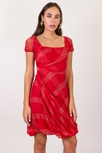 Sportmax Pura Seta Red Silk Dress with White Stripes / Size: 40 IT - Fit: S