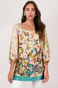 Gerard Darel Multicoloured Silk Blouse with Butterfly Print / Size: 42 FR - Fit: M