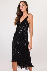 Jenny Packham Black Asymmetric Dress with Sequins / Size: 8 UK - Size: 8 UK - Fit: S