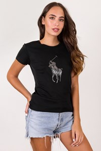 Ralph Lauren Black Elasticated Cotton T-Shirt / Size: L - Fit: S