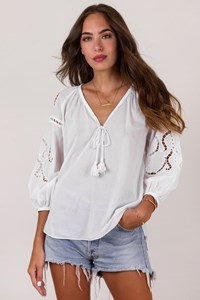 Ancient Kallos White Cotton Blouse with Cut-Out Details / Size: S - Fit: S / M
