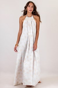 Tunica Stola White Halterneck Maxi Dress with Gold Knitted Details / Size: ? - Fit: S / M