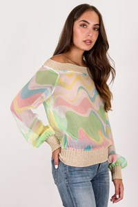 M Missoni Multicoloured Silk Blouse with Knitted Details / Size: 44 IT - Fit: S