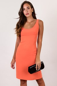 Mani Coral Pink Bodycon Dress / Size: 44 IT - Fit: S / M
