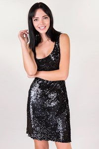 Jenny Packham Black Sequin-Embellished Dress / Size: 12 UK - Fit: S
