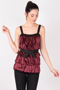 Lanvin Burgundy Smocked Top / Size: XS - Fit: True to size