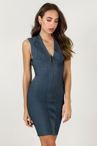 Hervé Leger Blue Icon Bandage Dress / Size: S - Fit: XS / S