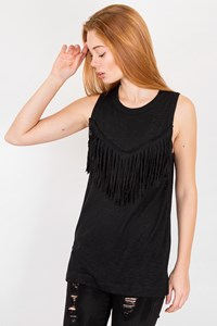Zadig & Voltaire Black Fringed Top / Size: XS - Fit: XS / S