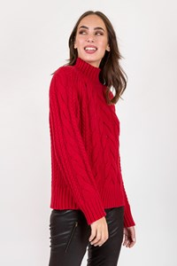 Massimo Dutti Red Knit Jumper with Funnel Collar / Size: L - Fit: S / M