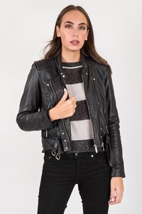 Oakwood Black Leather Biker Jacket / Size: M - Fit: S