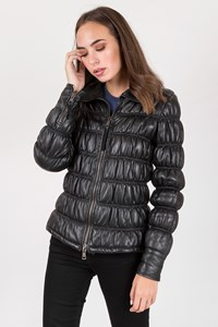 Armani jeans Black Leather Quilted Jacket / Size: 42 IT - Fit: S