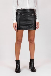 Oakwood Black Leather A-Line Skirt / Size: 38 - Fit: S