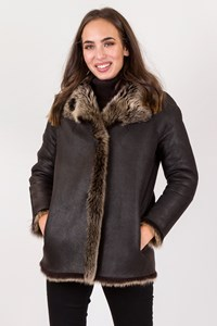 No Brand Brown Shearling Double Sided Jacket with Beige Fur / Size: ? - Fit: S