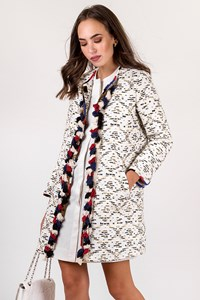 Bazar Deluxe White Overcoat with Sequins and  Decorative Tassels / Size: 44 IT - Fit: S