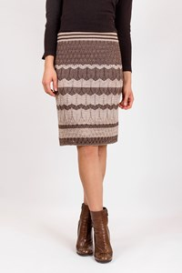 M Missoni Beige-Brown Zigzag Knitted Skirt / Size: 46 IT - Fit: S / M