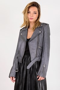 Tigha Malomi Grey Leather Jacket / Size: M - Fit: S