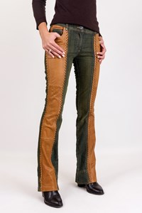 Dior Dark Denim and Leather Pants / Size: 36 FR - Fit: S