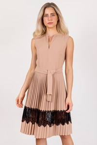 Mi-Ro Nude Dress with Black Lace / Size: 44 - Fit: M