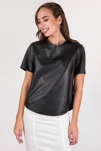 Silkaholics Black Leather Short Sleeve Top / Size: L - Fit: S / M