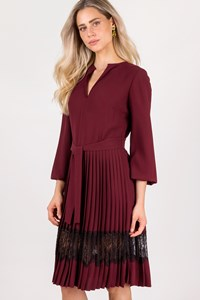 Mi-Ro Burgundy Dress with Black Lace / Size: 44 - Fit: M