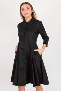Evi Grintela 3/4 Black Cotton Dress / Size: Μ - Fit: S