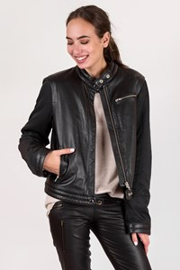 Dkny Black Leather and Nylon Biker Jacket / Size: L - Fit: M / L