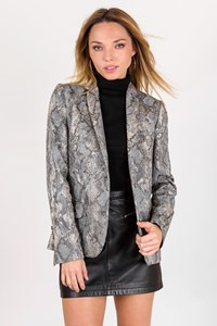 Zadig&Voltaire Deluxe Grey Cotton Blazer with Snakeskin Effect / Size: S - Fit: XS / S