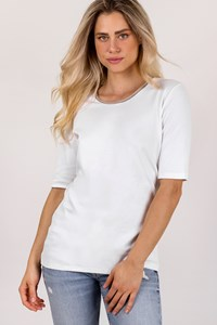 Fabiana Filippi White T-Shirt with Beige Embellished Cashmere Neckline/ Size: 50 IT - Fit: L / XL