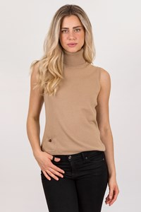 Burberry London Beige Cashmere Sleeveless Turtleneck Top / Size: L - Fit: M