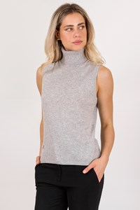 Burberry London Grey Cashmere Sleeveless Turtleneck Top / Size: L - Fit: M