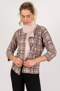 Fabiana Filippi Beige Check-Print Wool Cardigan / Size: 50 IT - Fit: M / L