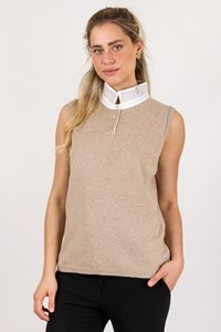 Fabiana Filippi Beige Sleeveless Wool Top with Collar / Size: 50 IT - Fit: M / L