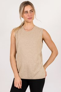 Fabiana Filippi Beige Sleeveless Wool Top / Size: 50 IT - Fit: M / L