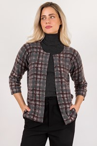 Fabiana Filippi Grey Check-Print Wool Cardigan / Size: 50 IT - Fit: M / L