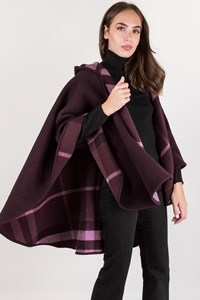 Burberry Purple Wool Cape with Hood / Size: ? - Fit: One size