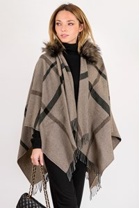 Pinko Grey-Beige Wool Cape with Fur / Size: U - Fit: One size