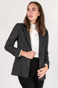 Valentino Grey Wool Jacket with Velvet Collar / Size: 8 - Fit: S