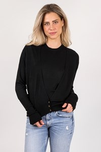 Valentino Roma Black Blouse and Cardigan Set / Size: 48 IT - Fit: S