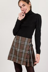 Burberry Khaki Check Print Wool Mini Skirt / Size: 8 UK - Fit: S