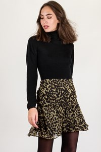 Isabel Marant Etoile Olive Green-Black Animal Print Mini Skirt / Size: 40 FR - Fit: S