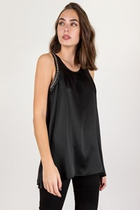 Pierre Balmain Black Silk Top with Silver Chain / Size: 40 FR - Fit: S / M