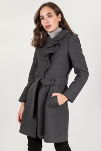 Valentino Roma Grey Wool Coat with Ruffled Collar / Size: 42 IT - Fit: S