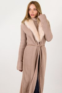 Joseph Nude Wool Knitted Long Coat / Size: S - Fit: True to size
